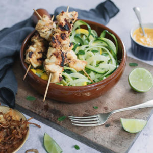 Courgette linguini with Satay Chicken and Crispy Shallots