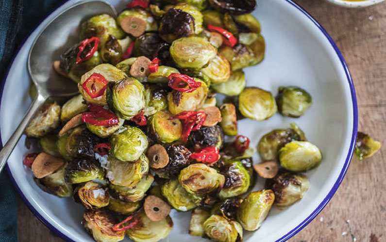 Chilli and Garlic Roasted Brussel Sprouts