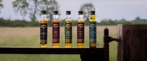 Newgrange Gold Rapeseed & Camelina Oils on gatepost