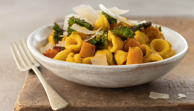 Orecchiette Pasta with Roasted Butternut & Crispy Kale with Newgrange Garden Herbs & Lemon Rapeseed Oil